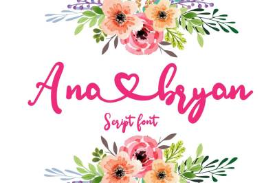 Ana Bryan | Cute heart Script Font by watercolor floral designs
