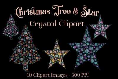 Christmas Tree and Star Crystal Clipart