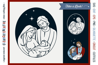 Christmas Nativity Design - Holy Night - Baby Jesus SVG DXF EPS PNG