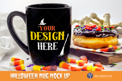 Halloween Mock up - Black mug with donut