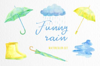 Funny rain. Watercolor set.