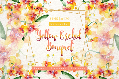 Yellow orchid bouquet PNG watercolor design set