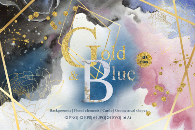 Gold and Blue Watercolor and Vector set SVG PNG EPS JPG