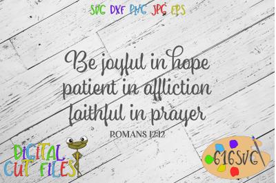 Be joyful in hope Romans 12:12 SVG