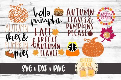 Fall Bundle of 9 Cut Files SVG PNG DXF