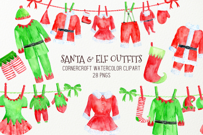 Watercolor Christmas Santa Claus and Elf Outfit Clipart