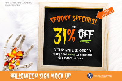 Halloween Mock up - wooden sign / chalkboard