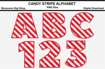 Candy Stripe Alphabet Clipart, PNG files
