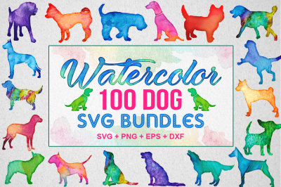 100 Water Color Dog SVG Bundle