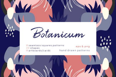 Botanicum. Modern and abstract pattern set.