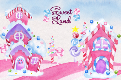 Sweet land. Watercolor clipart