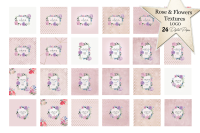 Rose & Flowers Textures (LOGO) 24 Digital Paper + 6 PNG Images