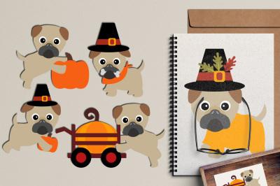 Cute Thanksgiving Pugs Clipart, Puppy Dog Pet