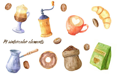 Coffee time. Watercolor collection.