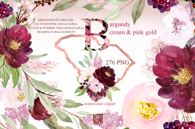 Burgundy cream & gold pink watercolor flowers . Watercolour flowers Di