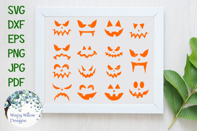 Spooky Pumpkin Faces SVG DXF PNG JPG EPS PDF