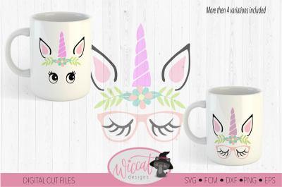 Hipster unicorn, Unicorn face svg,  Unicorn glasses svg, face svg, Uni