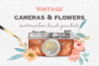 Vintage Cameras & Flowers Clipart