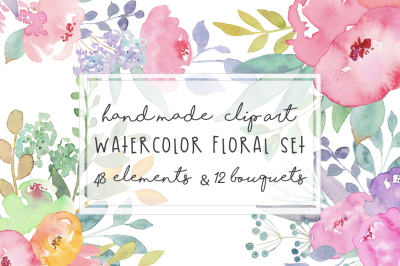 Watercolor Flowers ClipArt Set Hand painted