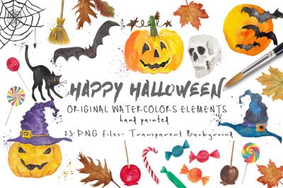 Halloween ClipArt Watercolor Handmade