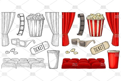 Cinema set. Vector engraving vintage color and black