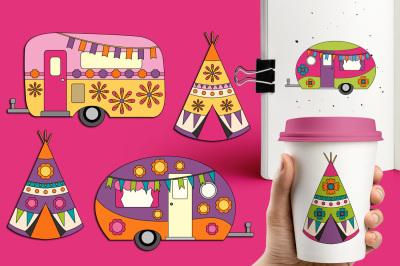 Happy Camper Clipart, Camping Caravan Teepee Tent