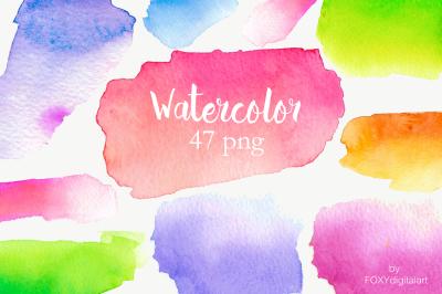 Watercolor Paint Splotches Clipart