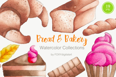 Bread Bakery Cake Watercolor Clipart