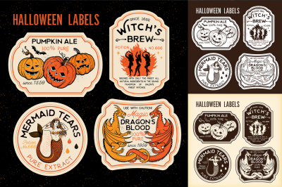 Halloween Bottle Labels & Potion Labels. Vector Illustration.