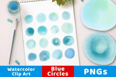 Watercolor Circle Clipart- Small Blue, Blue Watercolor Dots Clip Art