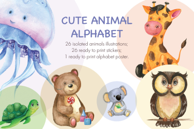 Cute watercolor animal alphabet