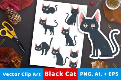 Black Cat Clipart, Halloween Clipart, Halloween Graphics