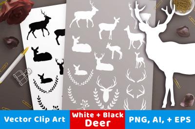 Deer Silhouette Clipart, White Deer Clipart, Black Deer Graphics