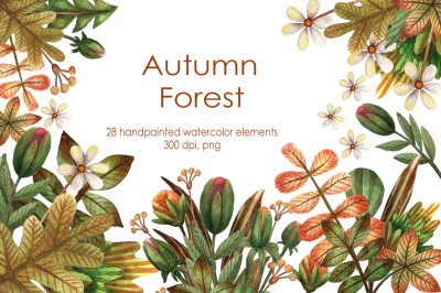 Autumn Forest - Watercolor Clip Art Set