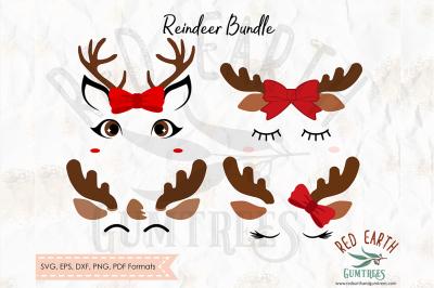 Christmas reindeer bundle SVG, PNG, EPS, DXF, PDF formats