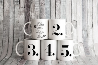 5 white coffee mug mockups five cup mockup stock photo