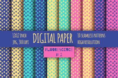 Fluorescent digital paper. Triangles bright printable paper. Geometric