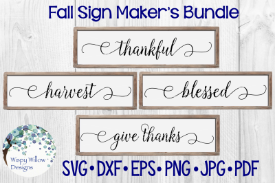 Fall Sign Bundle | Thankful | Harvest | Blessed | Give Thanks