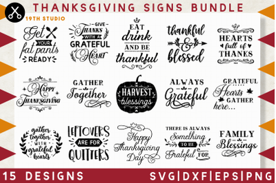 Thanksgiving signs SVG bundle | M39