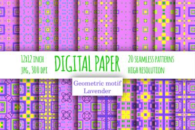 Violet checkered digital paper. Lavender scrapbook paper