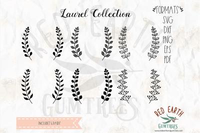 Hand drawn laurel bundle SVG, PNG, EPS, DXF, PDF formats