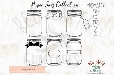 Hand drawn mason jar bundle SVG, PNG, EPS, DXF, PDF formats