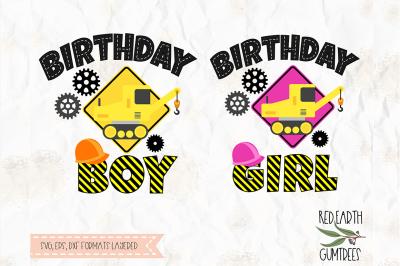 Construction theme birthday boy, crane SVG, PNG, EPS, DXF, PDF formats