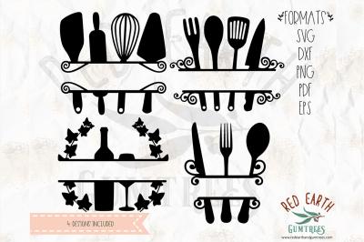 Kitchen split monogram frame decal SVG, PNG, EPS, DXF, PDF formats