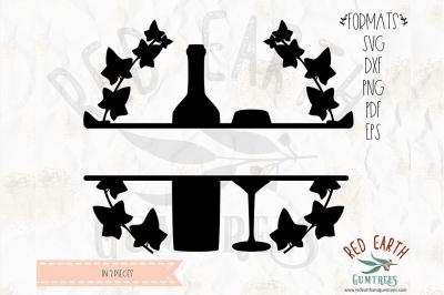 Kitchen split monogram frame, wine decal SVG,PNG,EPS,DXF, PDF format