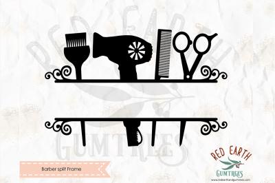 Barber split monogram frame decal SVG, PNG, EPS, DXF, PDF formats