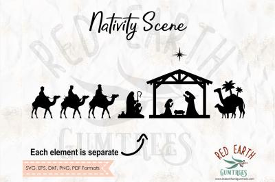 Nativity scene, Christmas, 3 kings SVG, PNG, EPS, DXF, PDF formats