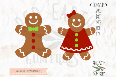 Christmas Gingerbread man and woman SVG, PNG, EPS, DXF, PDF formats