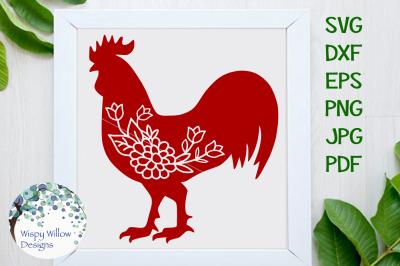 Floral Rooster SVG