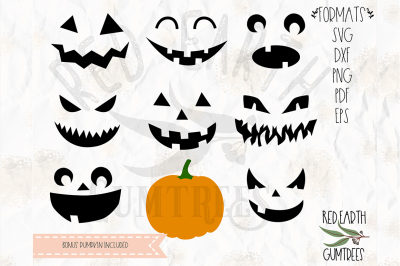 Pumpkin faces bundle with bonus pumpkin SVG, PNG, EPS, DXF,PDF formats